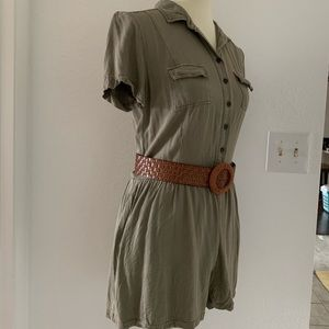 Others Follow Other - 'Others Follow' Green Olive Romper